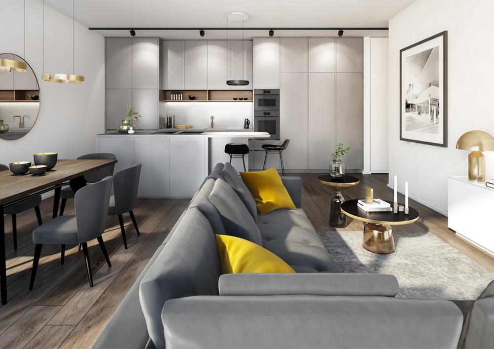 Interior Design für Privatkunden Bogenhausen 2020 Visualisierung